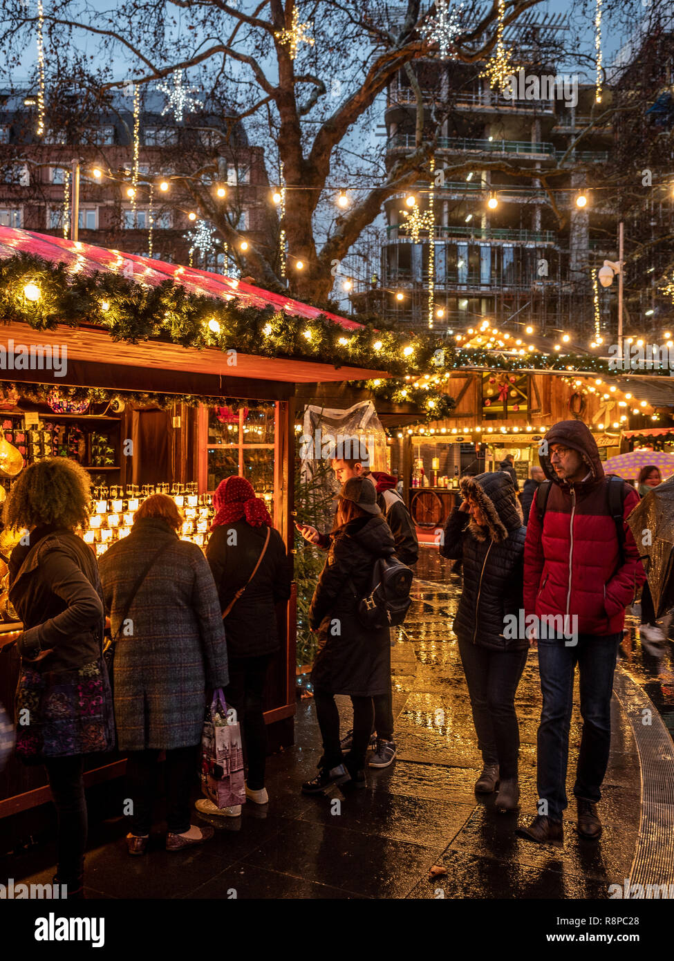 Stalls at Leicester Square Christmas Market, London, UK. - Stock Image
