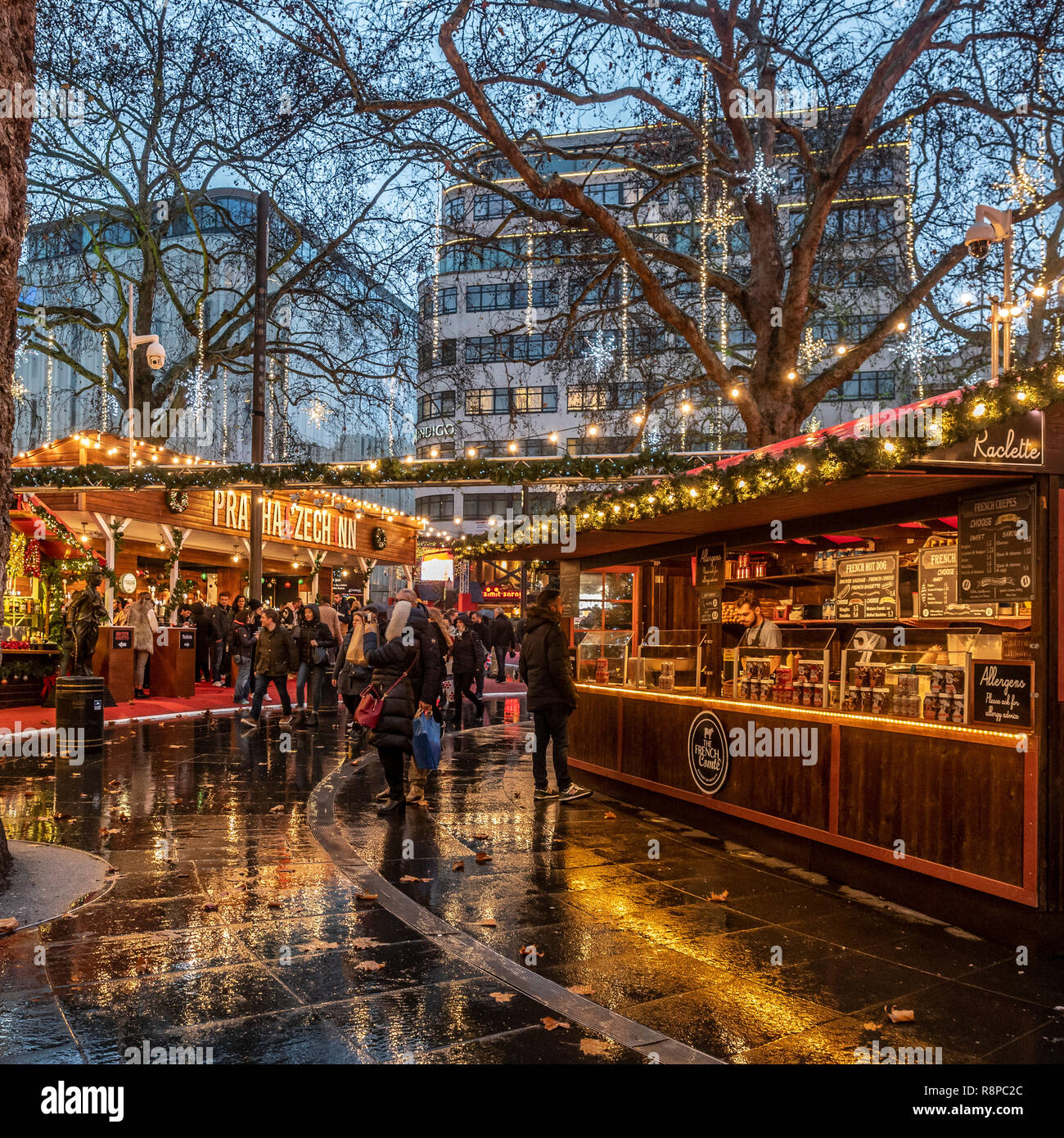 Stalls at Leicester Square Christmas Market, London, UK. Stock Photo