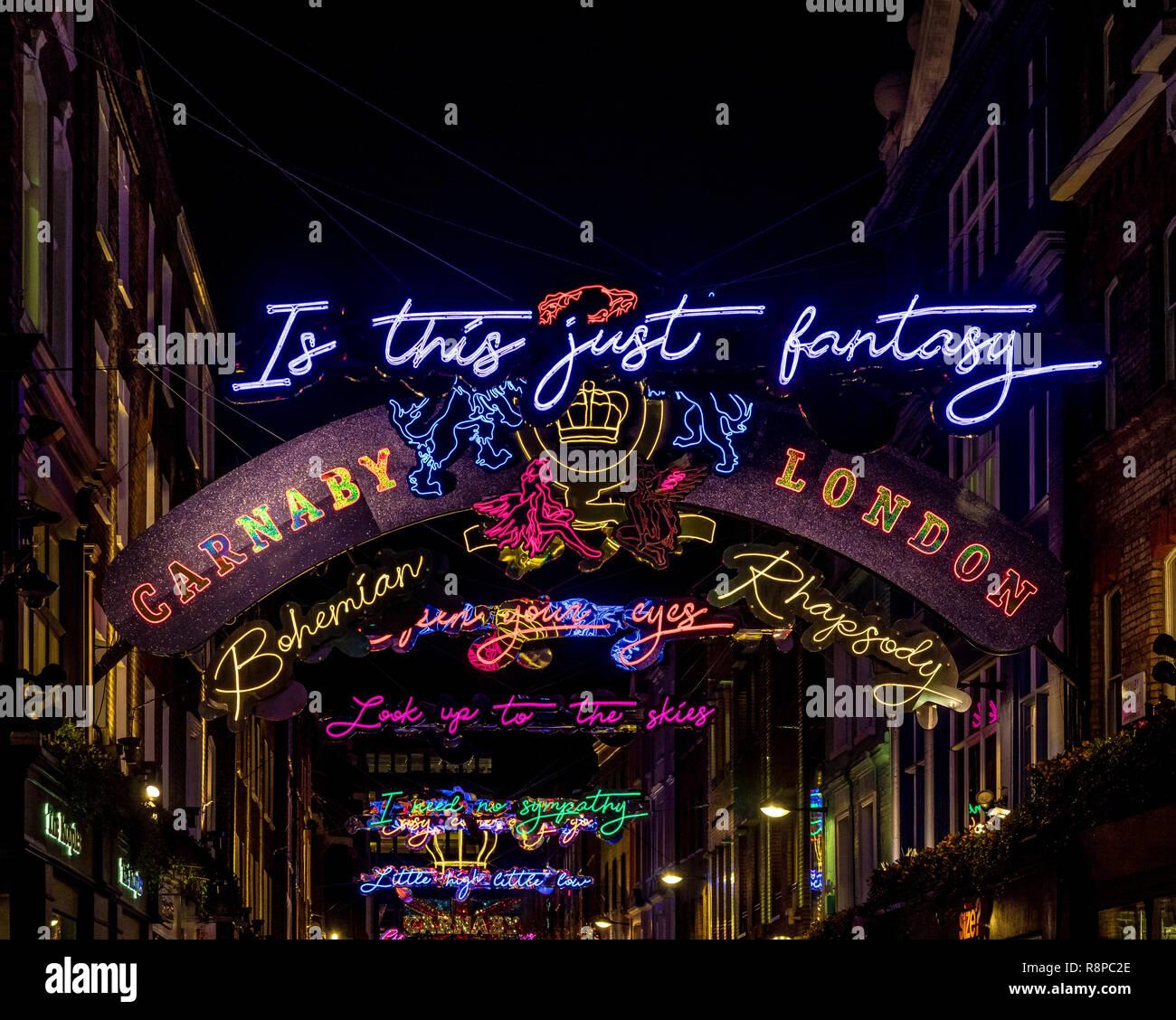 Carnaby Street christmas illuminations based on Bohemian Rhapsody lryics by Queen, London, UK. - Stock Image