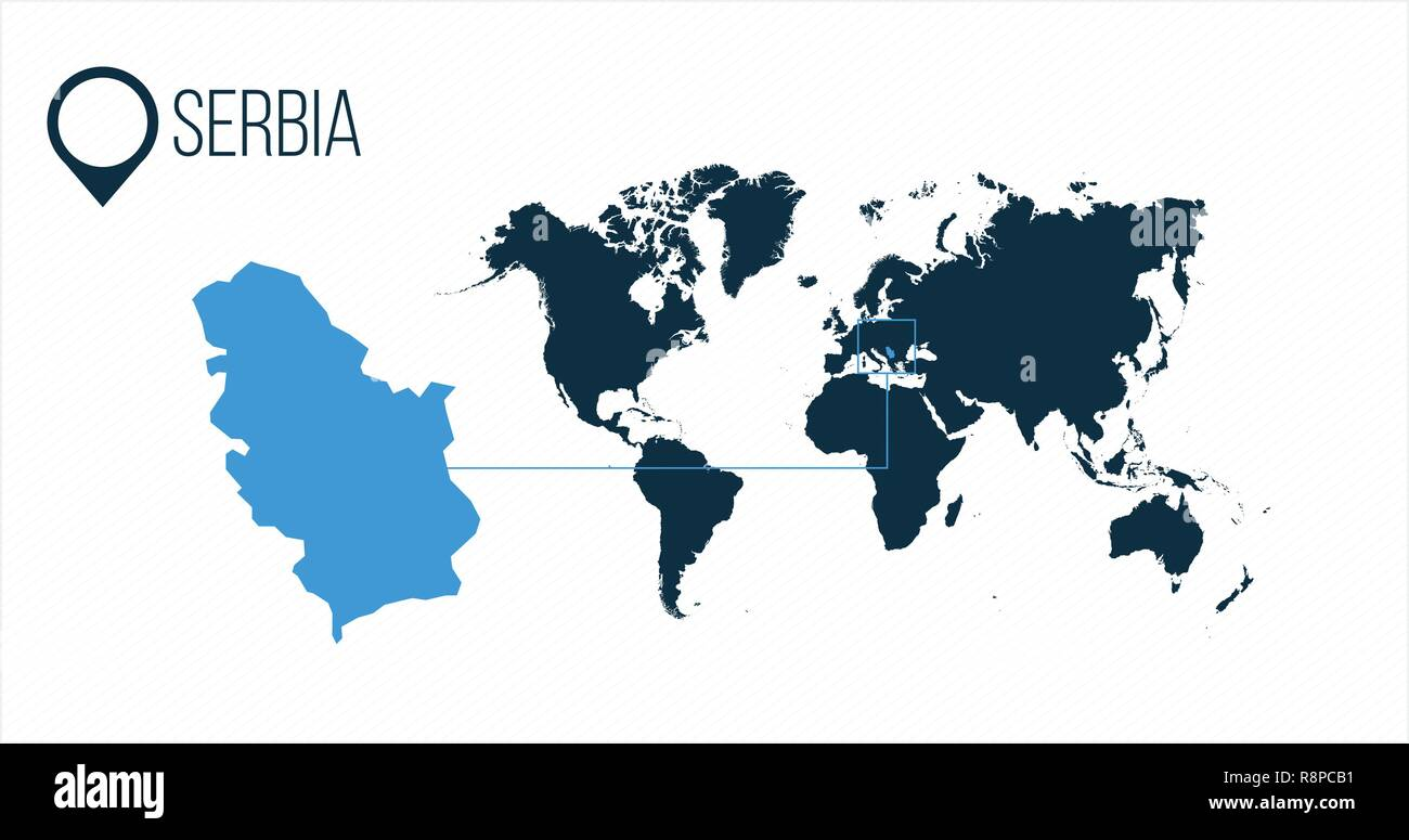 Serbia Location On The World Map For Infographics All World