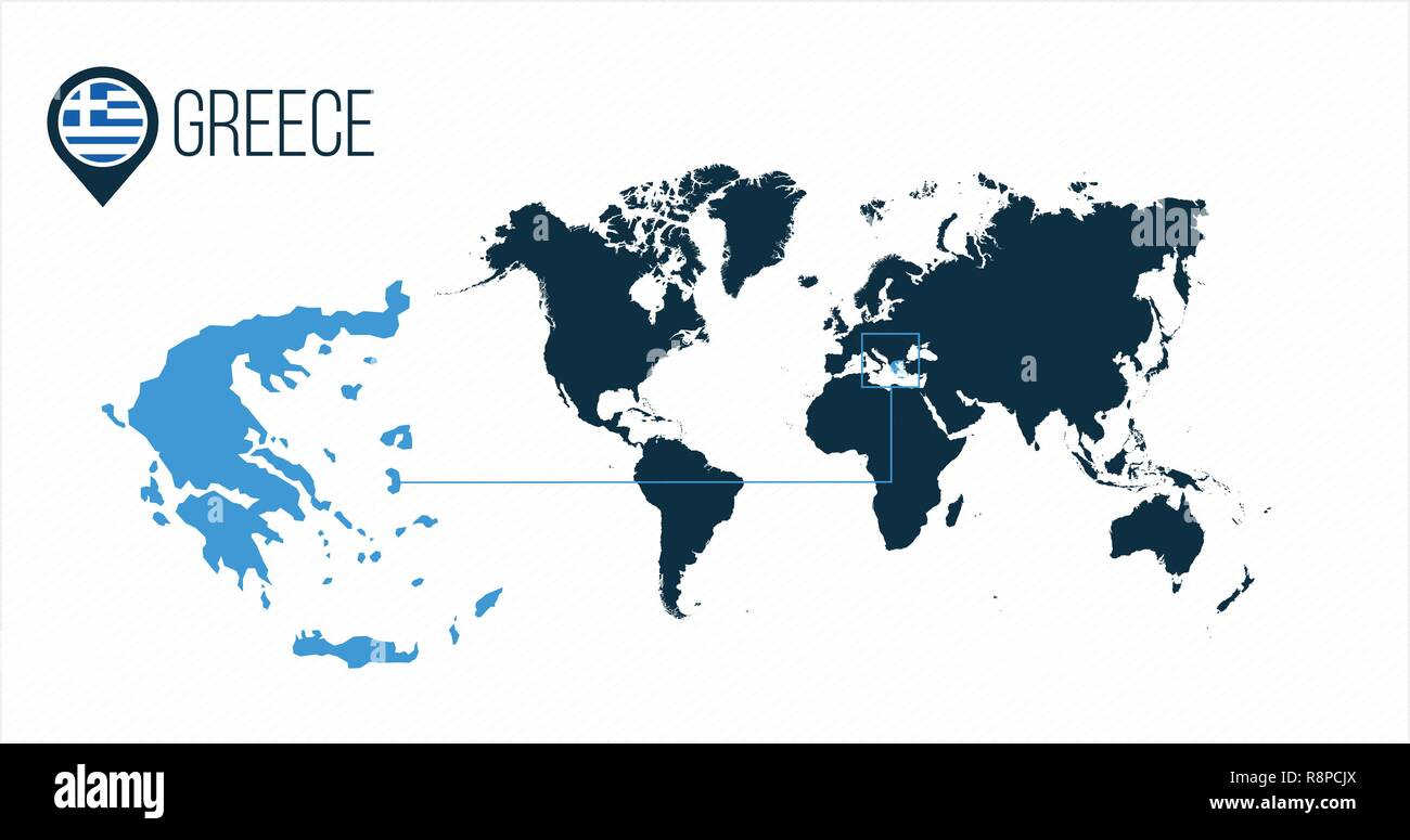 Greece location on the world map for infographics. All world ...
