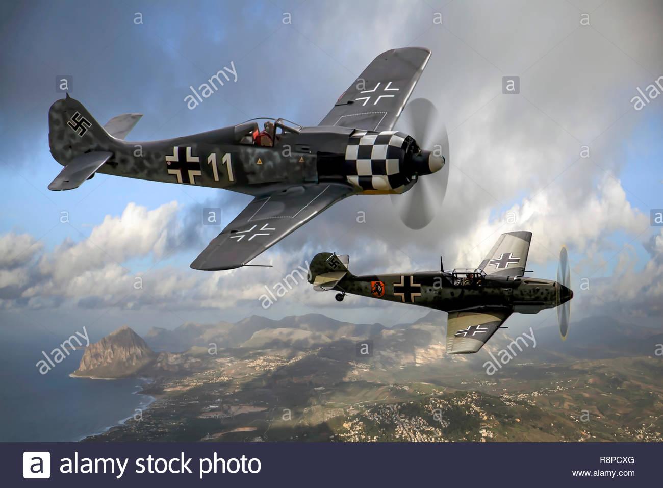 Focke-Wulf FW190 and Messerschmitt Bf 109E over Sicily - Stock Image