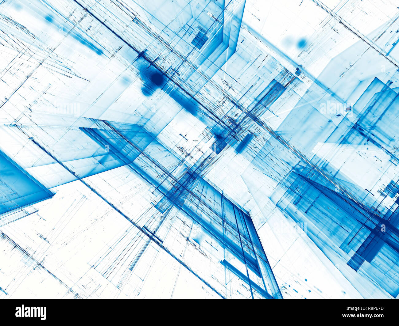 White and blue tech or sci-fi background - abstract computer-generated 3d illustration. Contemporary digital art: diagonal inclined walls with chaos l Stock Photo