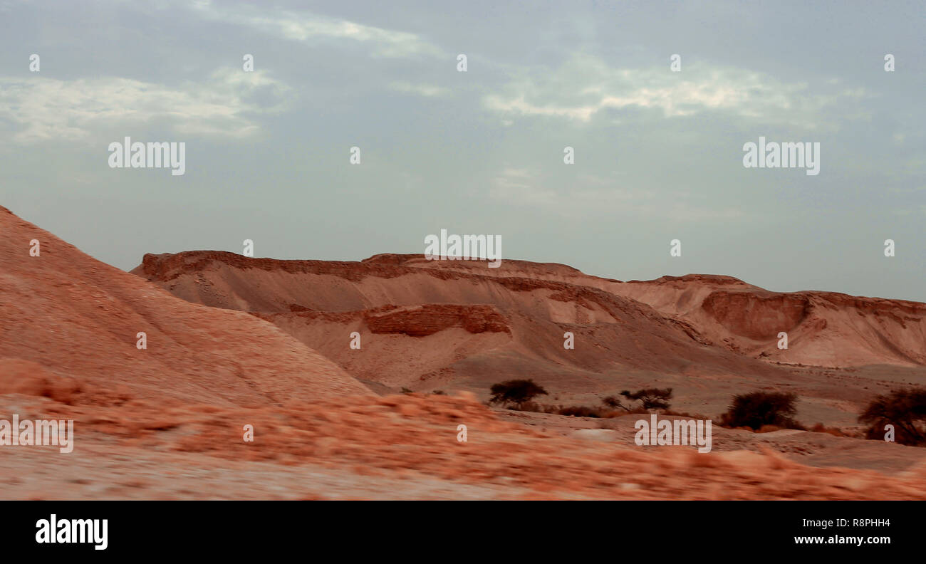 An Egyptian Desert And Mysty Sky in the daylight - Stock Image