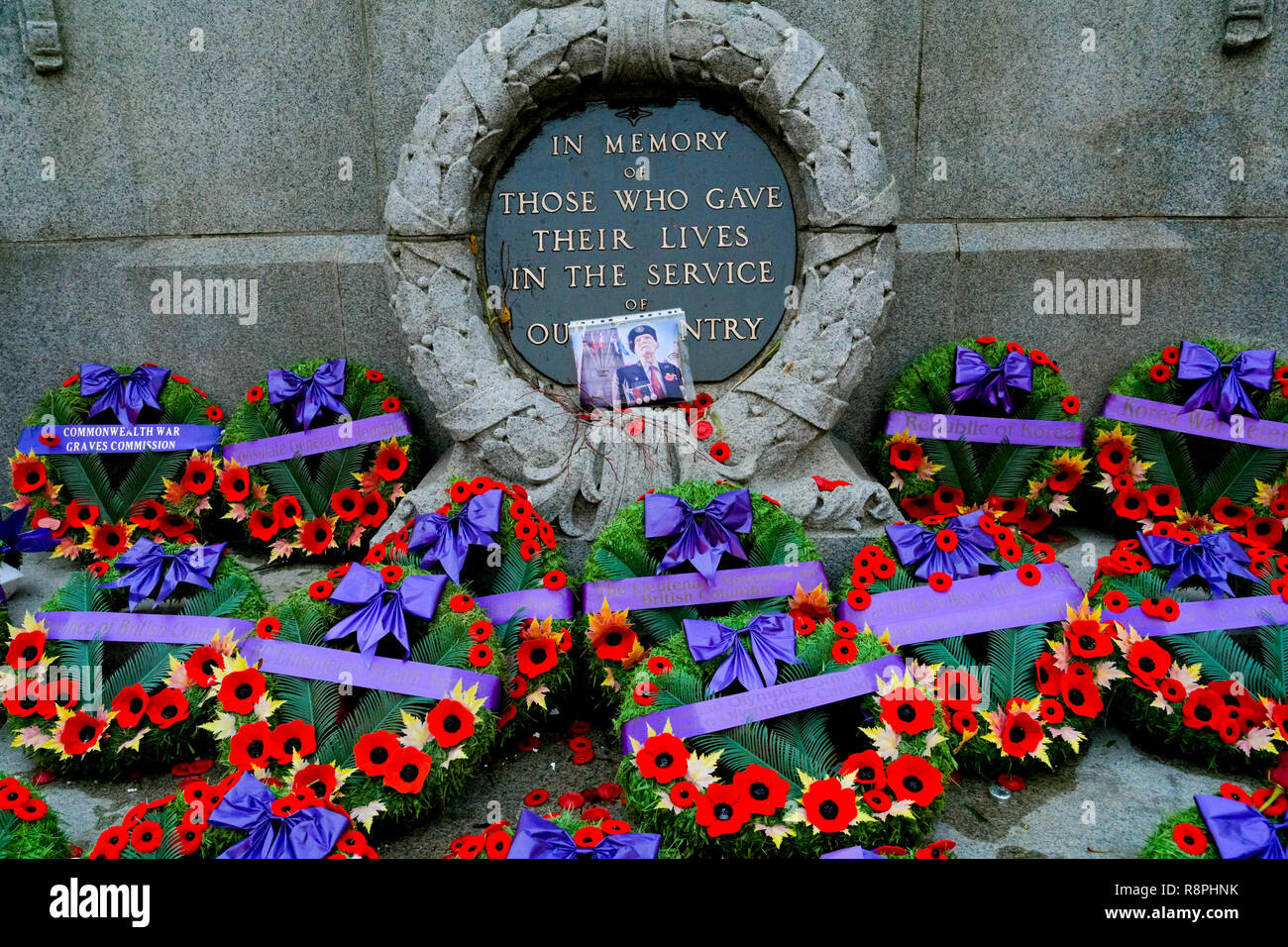 Remembrance Day wreaths, Cenotaph, Vancouver, British Columbia, Canada - Stock Image