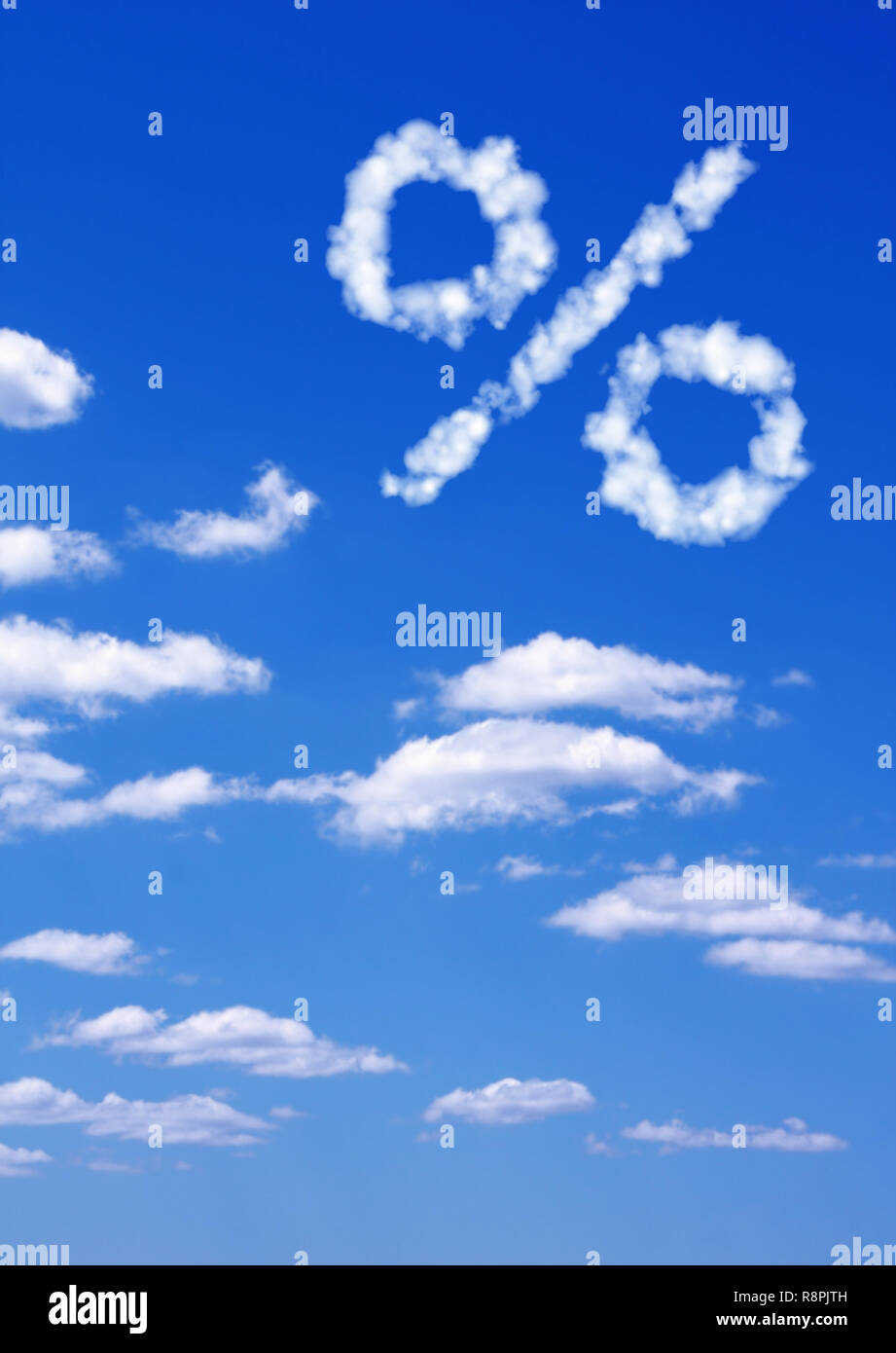 Percent symbol  from white clouds - Stock Image