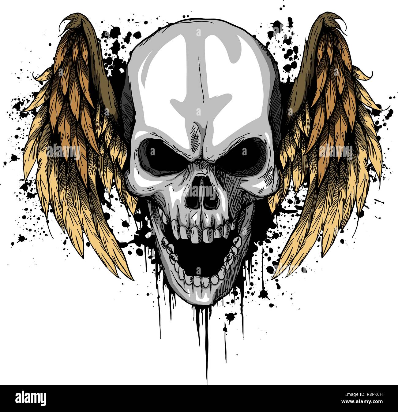 a human Skull with Wings Vector Illustration - Stock Image