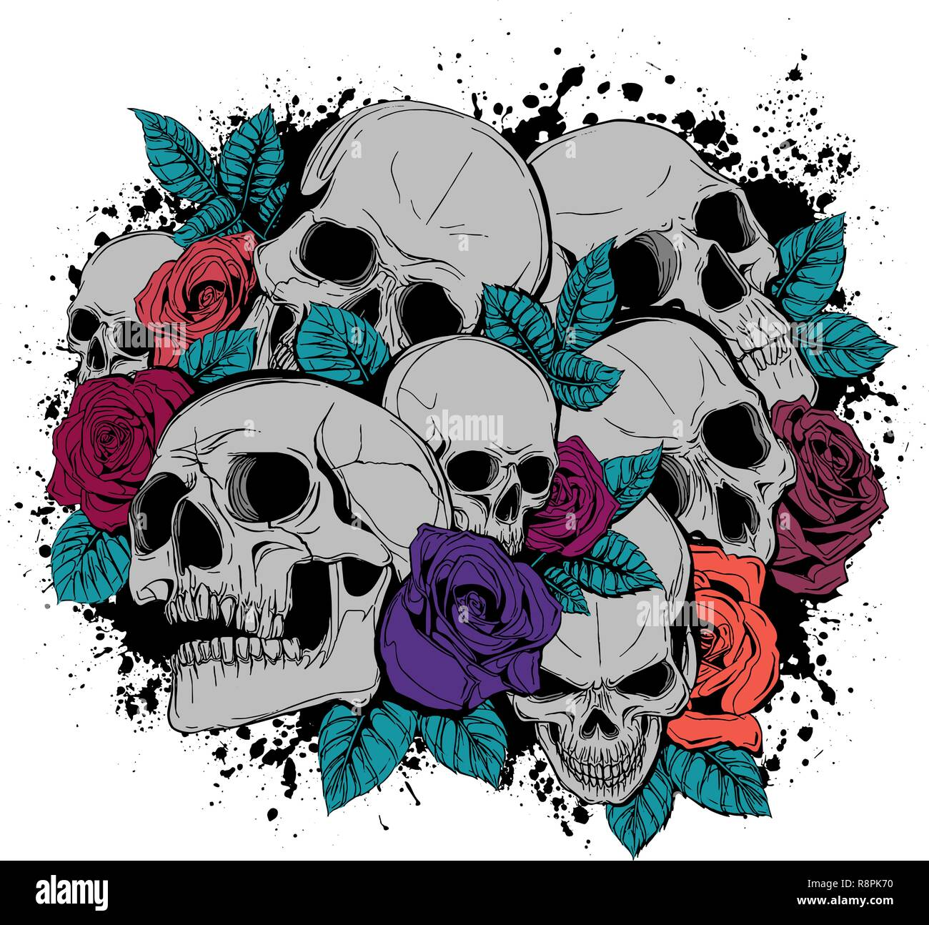 e1e4a8c39 Skull and flowers butterflies vector illustration Day of the Dead - Stock  Vector