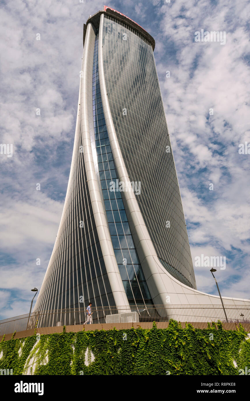 Vertical view of the Torre Generali in Milan, Italy. Stock Photo