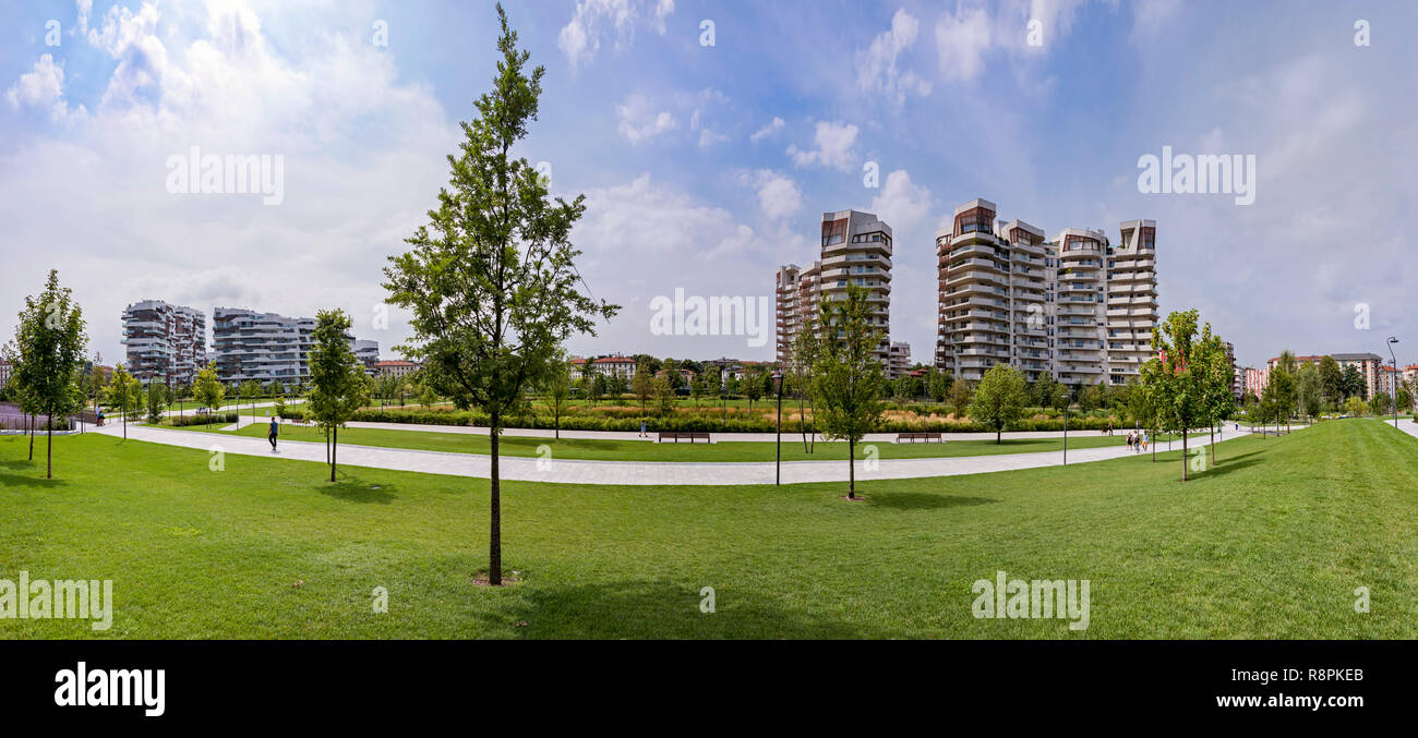 Horizontal view of the Libeskind and Hadid residences in Milan, Italy. - Stock Image