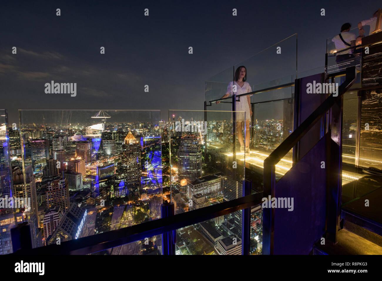 Looking out on the Bangkok cityscape from the Moon Bar, Bangkok, Thailand - Stock Image
