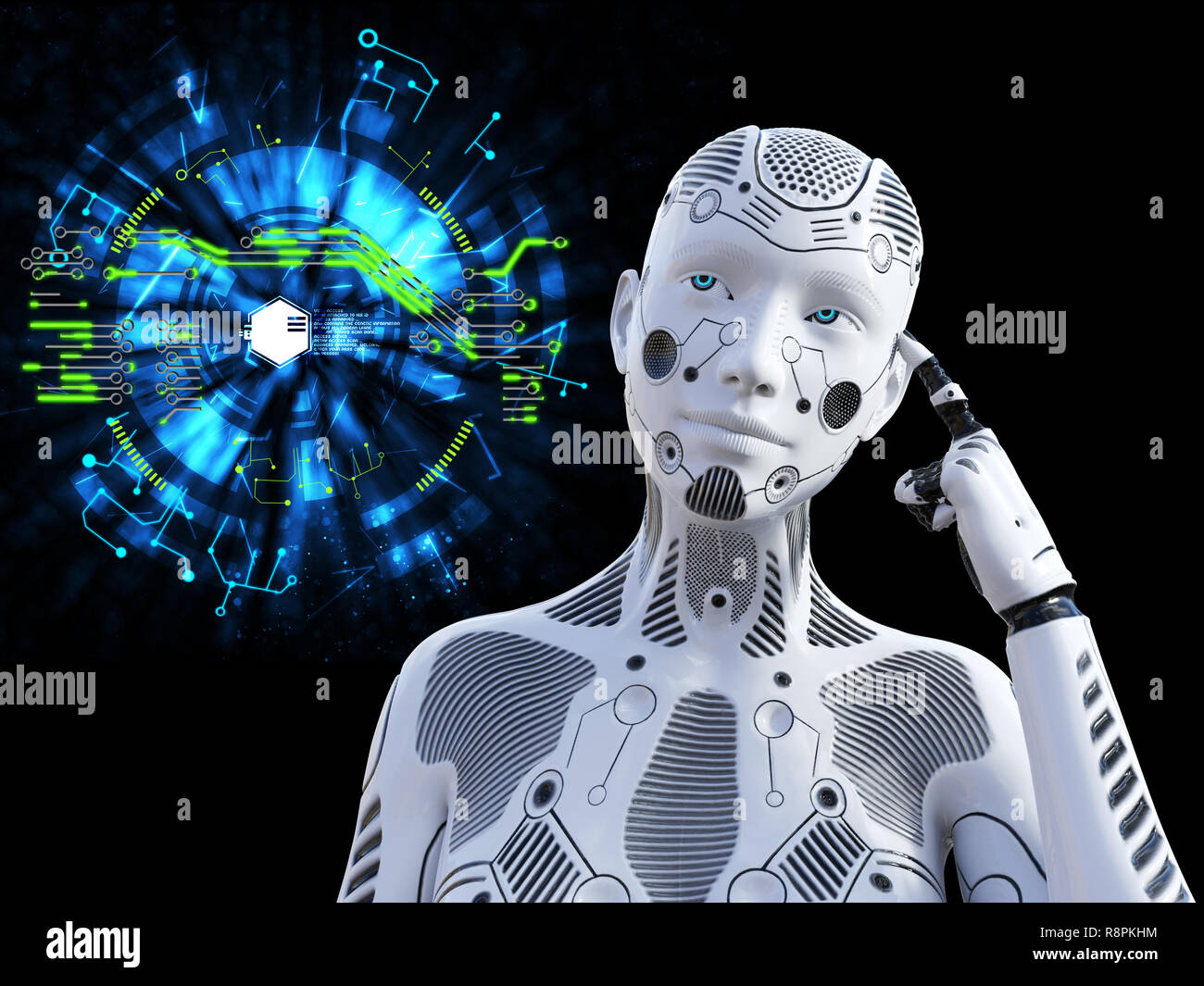 3D rendering of a female robot looking like she is thinking about something using her artificial intelligence. Technology concept. Stock Photo
