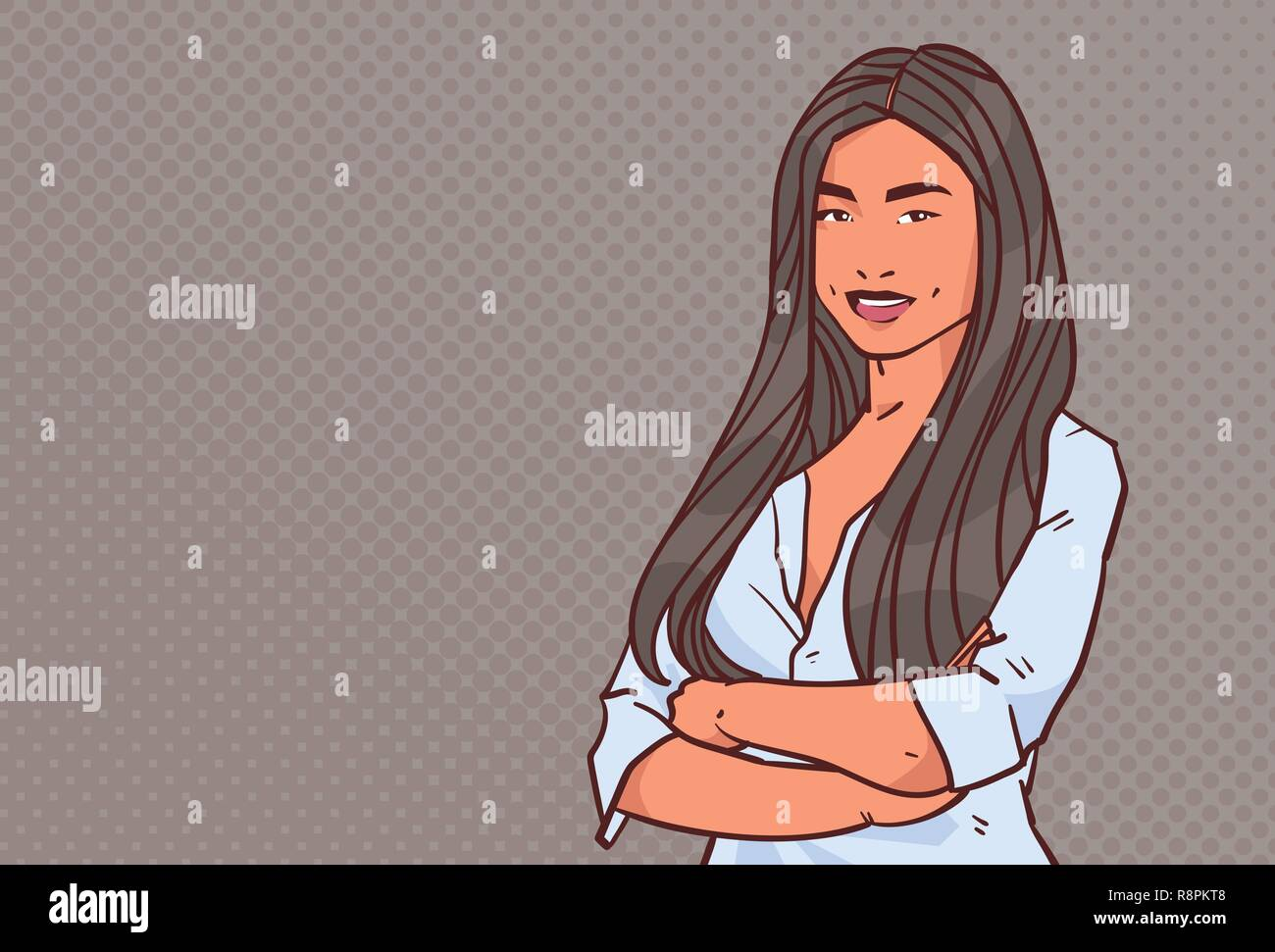 Young Businesswoman Folded Hands Pose Business Woman Smile Female
