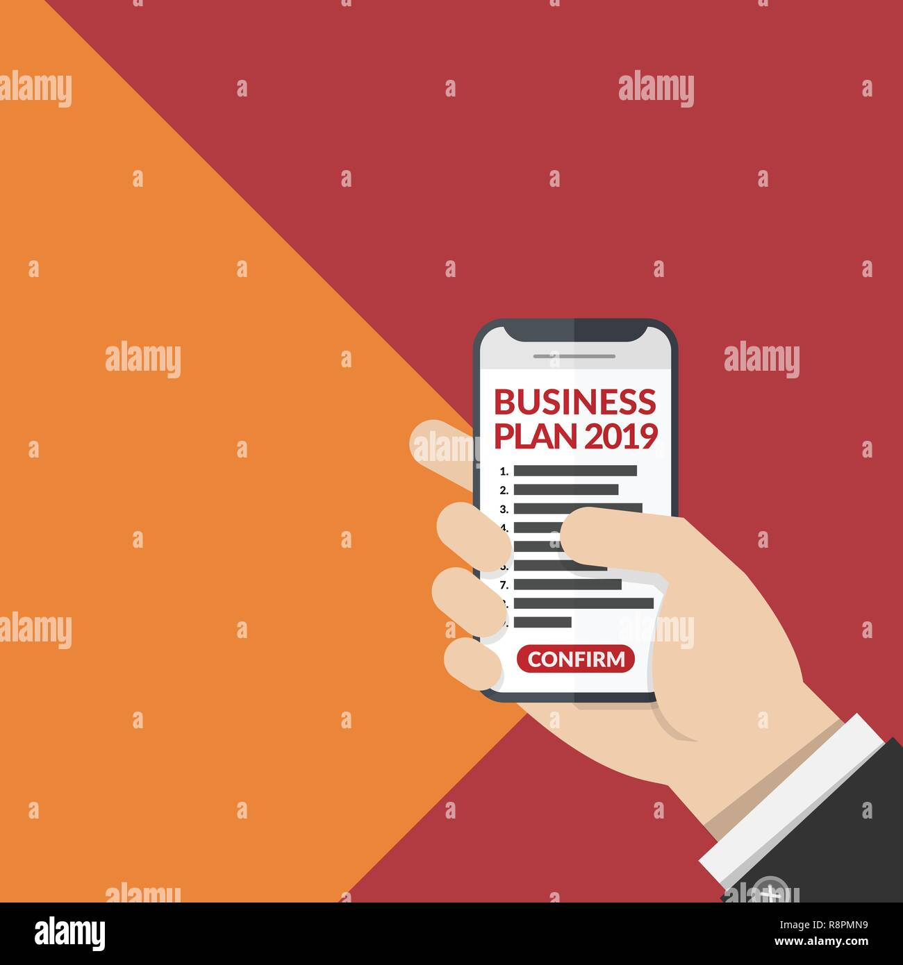 business plan list with number for year 2019 on mobile phone in business man's hand isolated on two tone background. vector illustration, flat design - Stock Image
