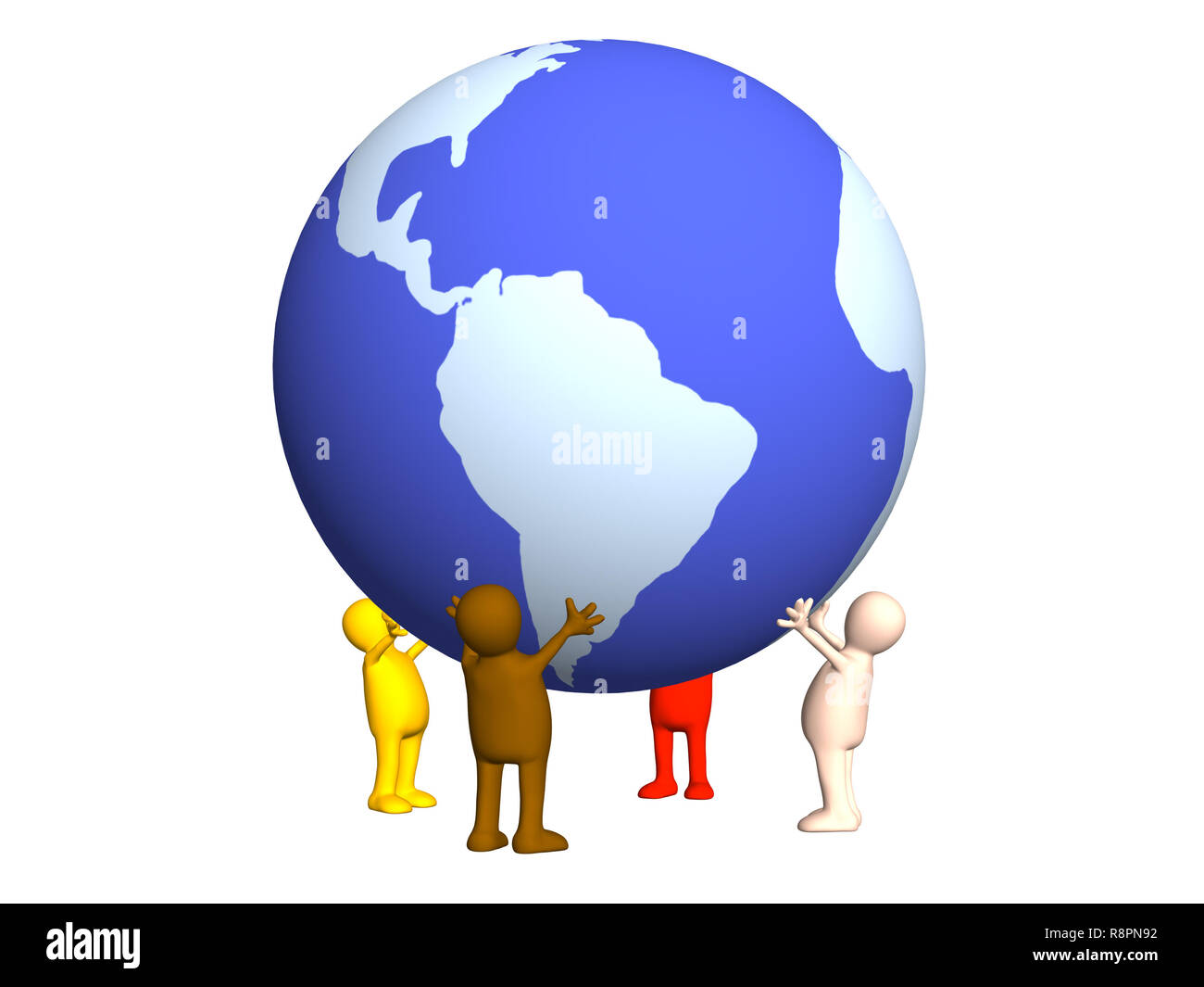 Four stylized persons holding on hands the Earth. Object over white - Stock Image