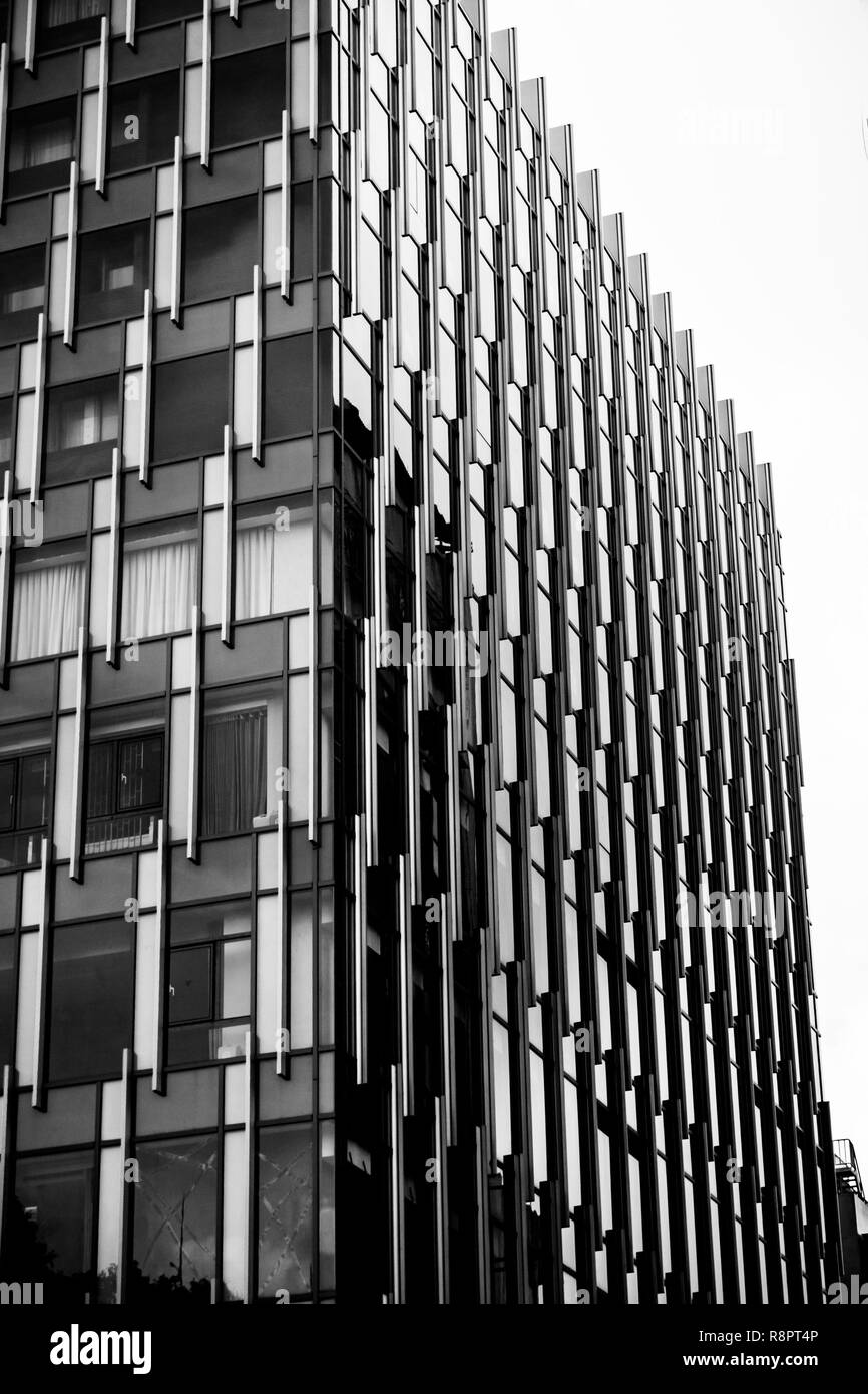 steel and glass building - black and white - Stock Image