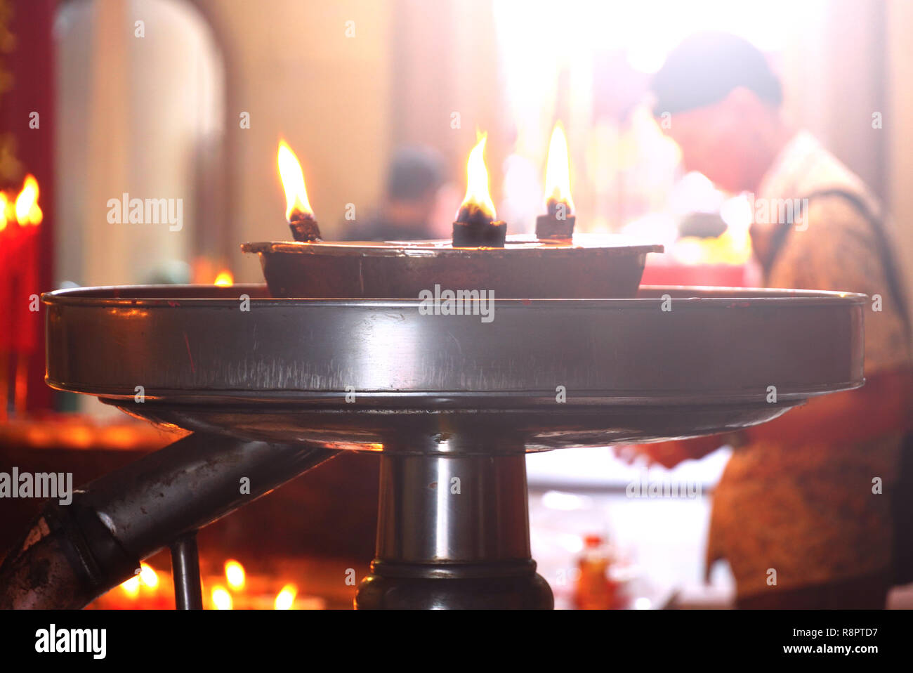 Candles pot in shrine temple in chinatown,chinese new year theme - Stock Image