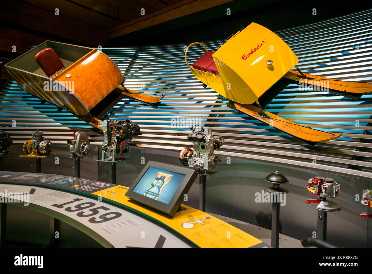 Canada, Quebec, Estrie Region, Valcourt, Musee J Armand Bombardier, museum dedicated to the inventor of the modern snowmobile, interior, early snowmobiles - Stock Image