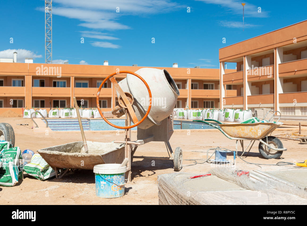Unfinished property development under construction in new town of Gran Alacant close to Alicante, Costa Blanca, Spain Stock Photo