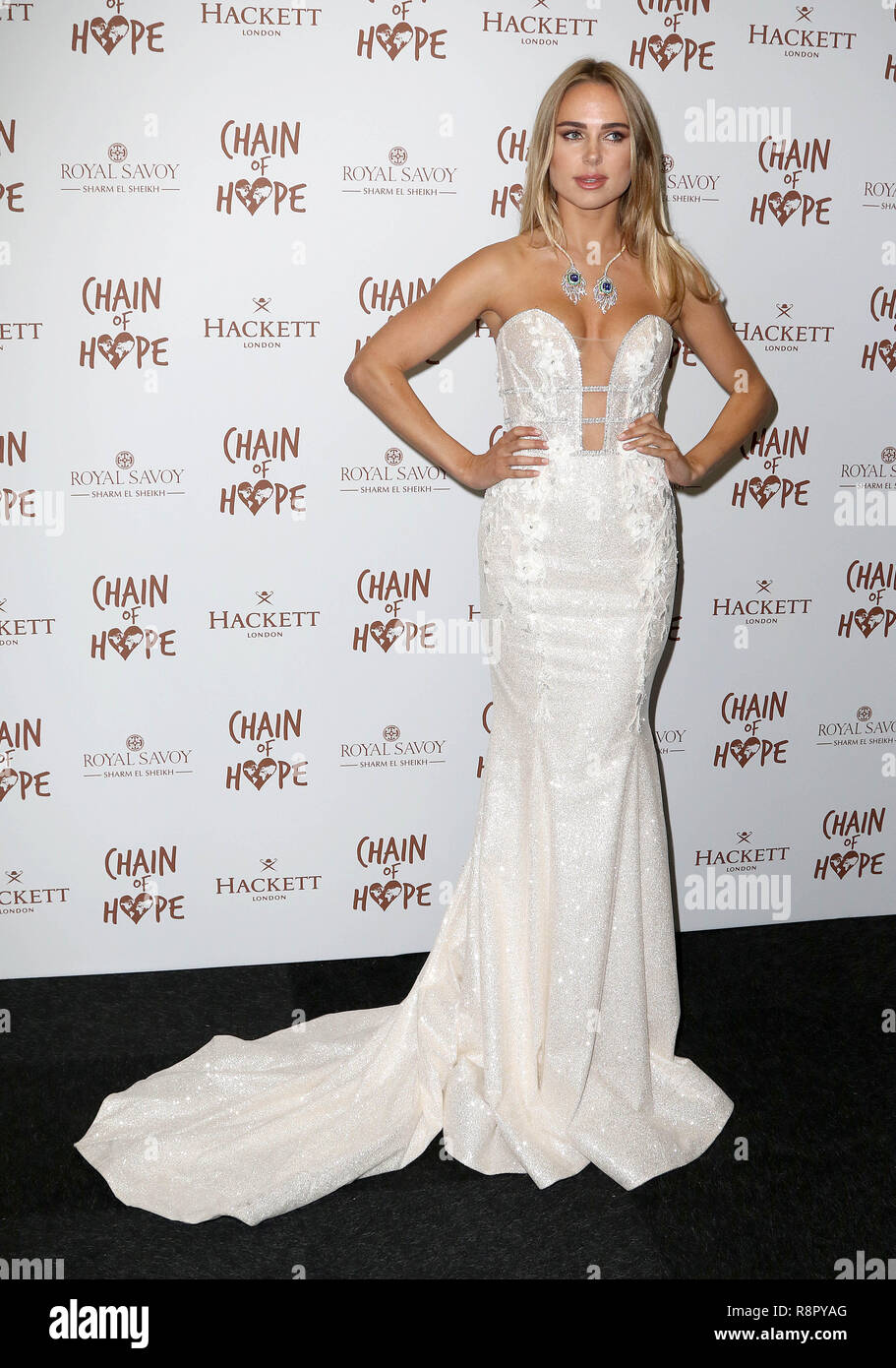 Nov 16, 2018  - Kimberley Garner attending Chain of Hope Gala Ball, Old Billingsgate in London, UK - Stock Image