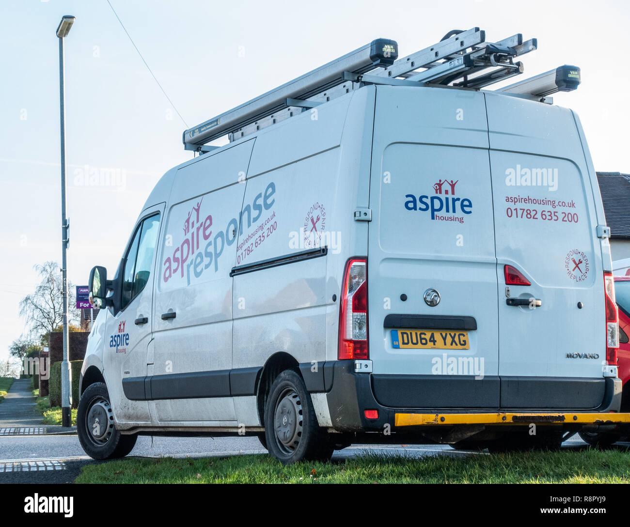 An Aspire Maintenance Vehicle servicing social housing - Stock Image