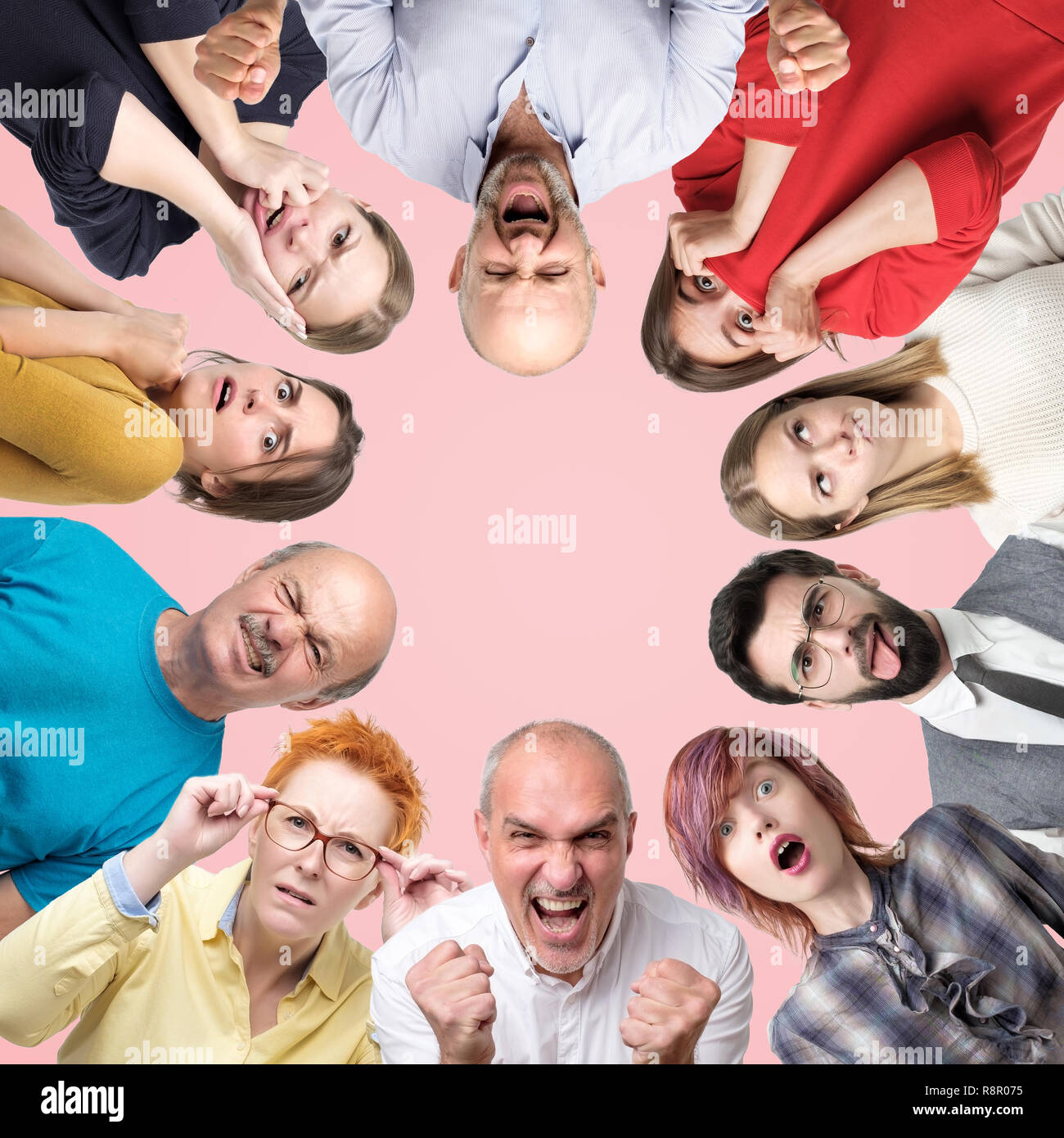 Circle collage of different men and women showing sad and negative emotions on pink background. - Stock Image