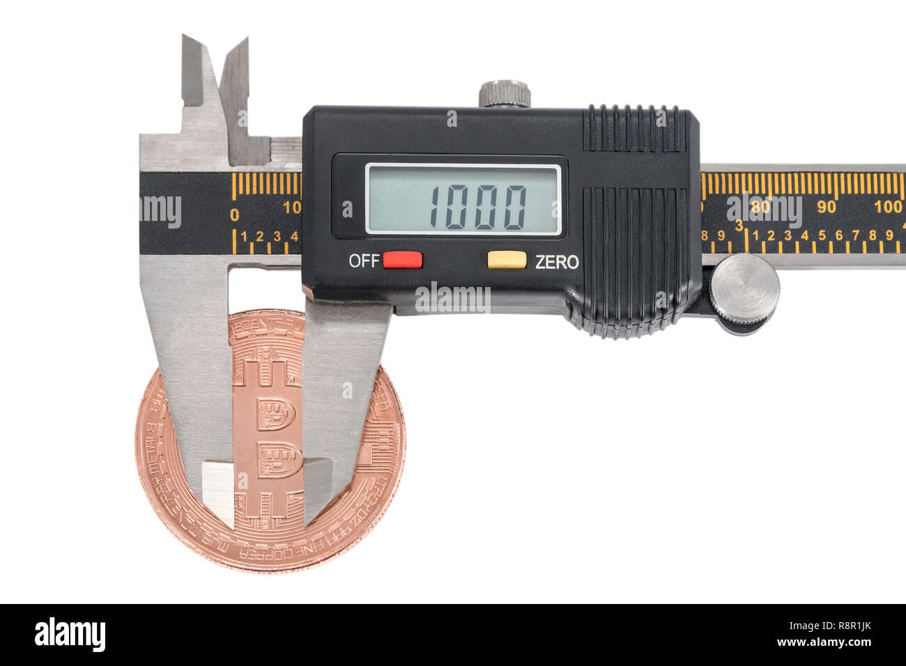 Bitcoin exchange rate fall concept to a thousand dollars using a measuring caliper, isolated on white background - Stock Image