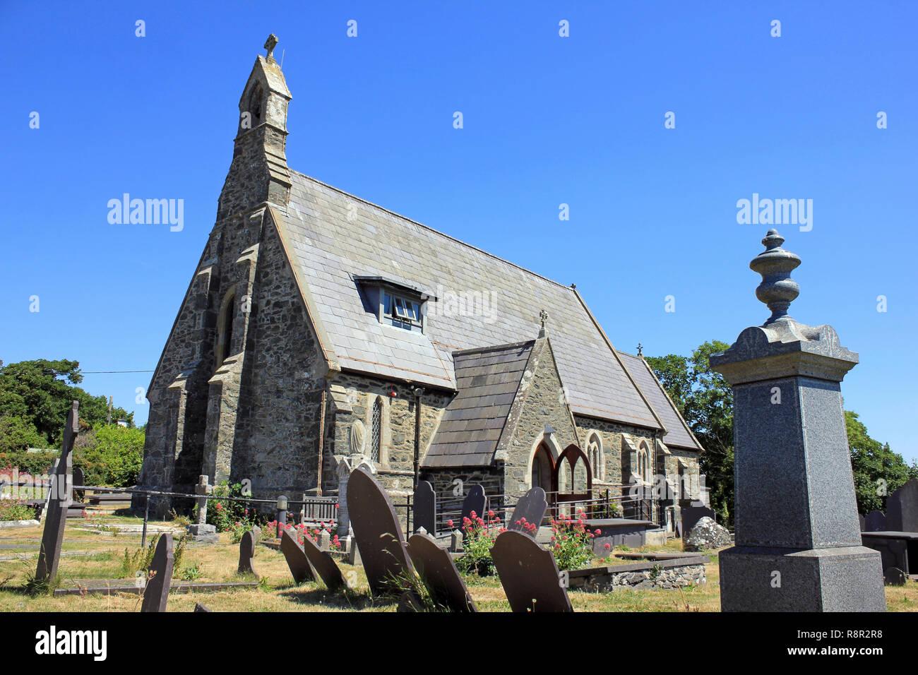 St Maelog's Church, Llanfaelog, Isle of Anglesey - Grade II Listed - Stock Image