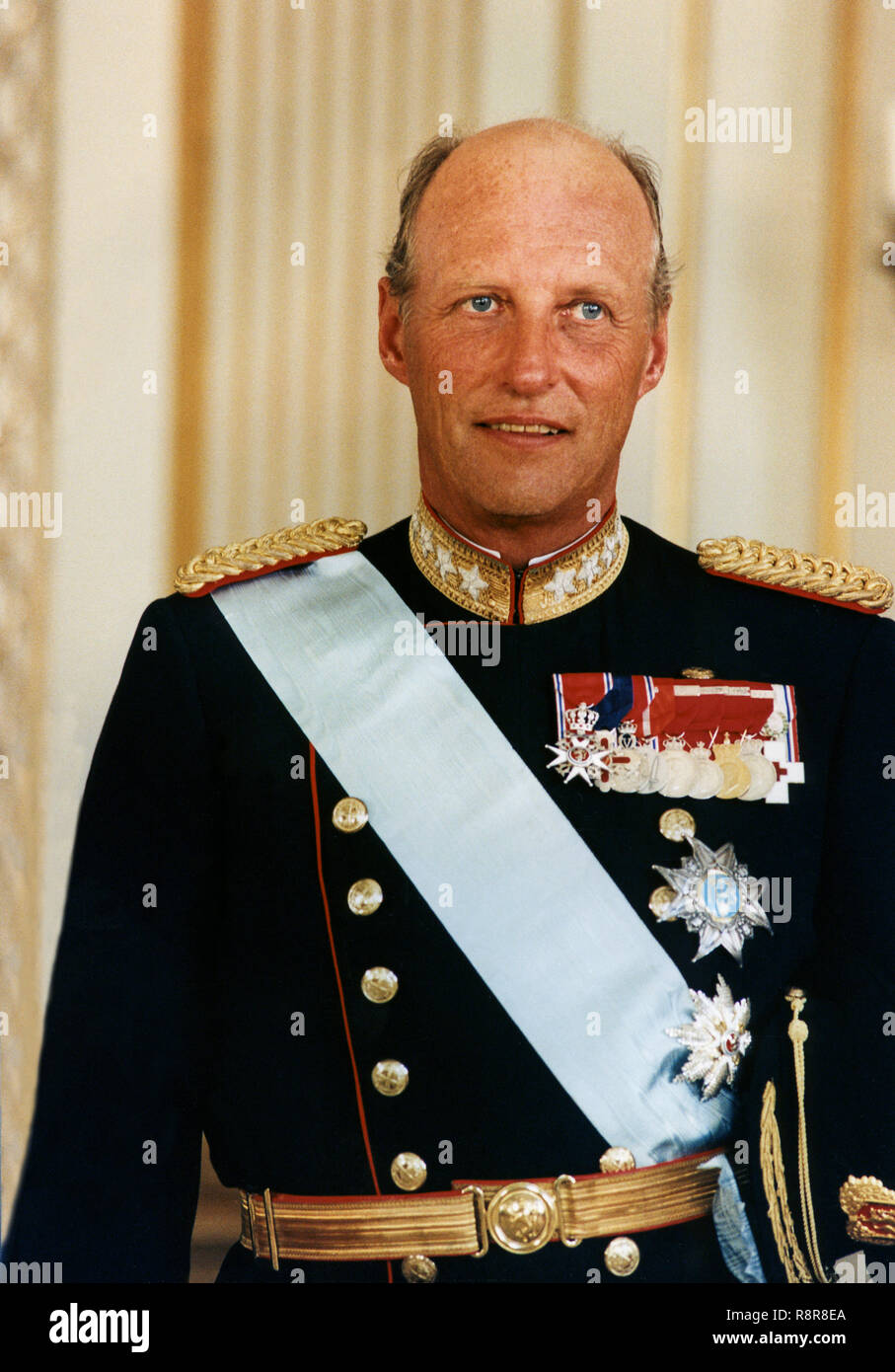 KING HARALD of Norway in uniform and regalia - Stock Image