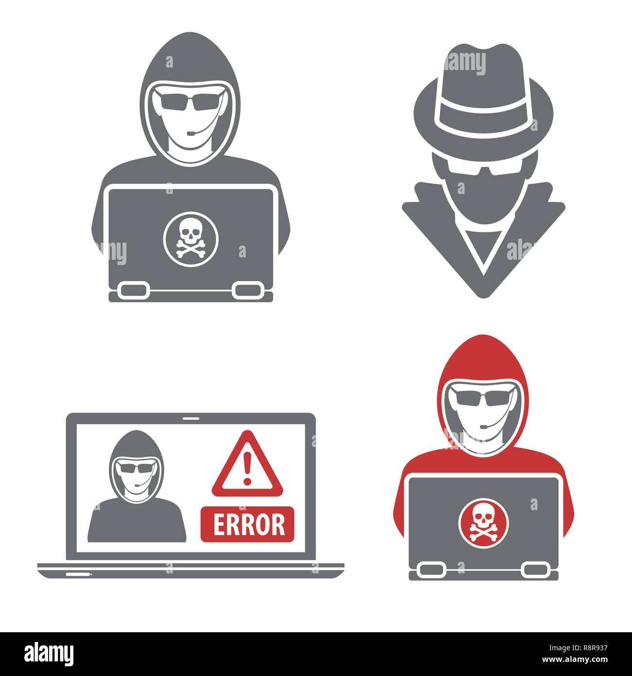 Cyber Crime with Set Logos Hacker Spy - Stock Image