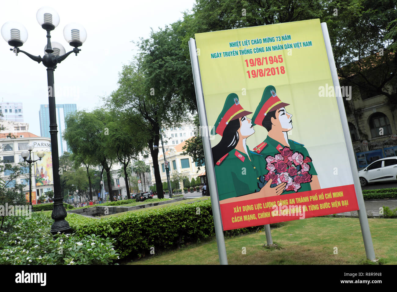Ho Chi Minh City, Vietnam - Communist party national propaganda posters in the city centre in August 2018 - Stock Image