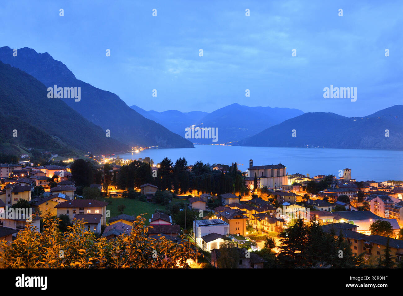 Italy, Lombardy, Iseo lake (Il Lago d'Iseo), Pisogne - Stock Image