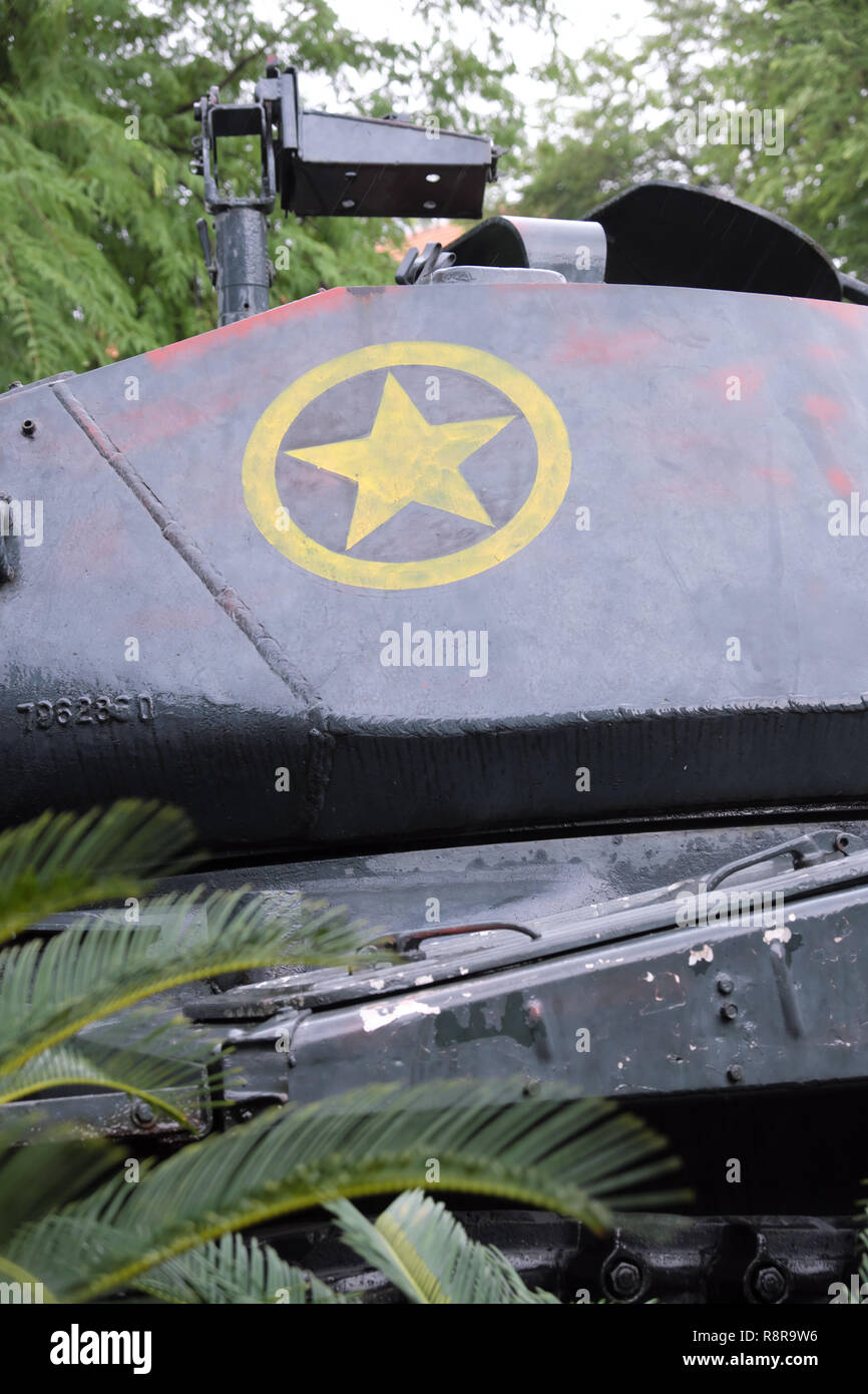 Ho Chi Minh City, Vietnam - captured American US Army tank on display wearing the yellow star of the Vietnam Army - Stock Image