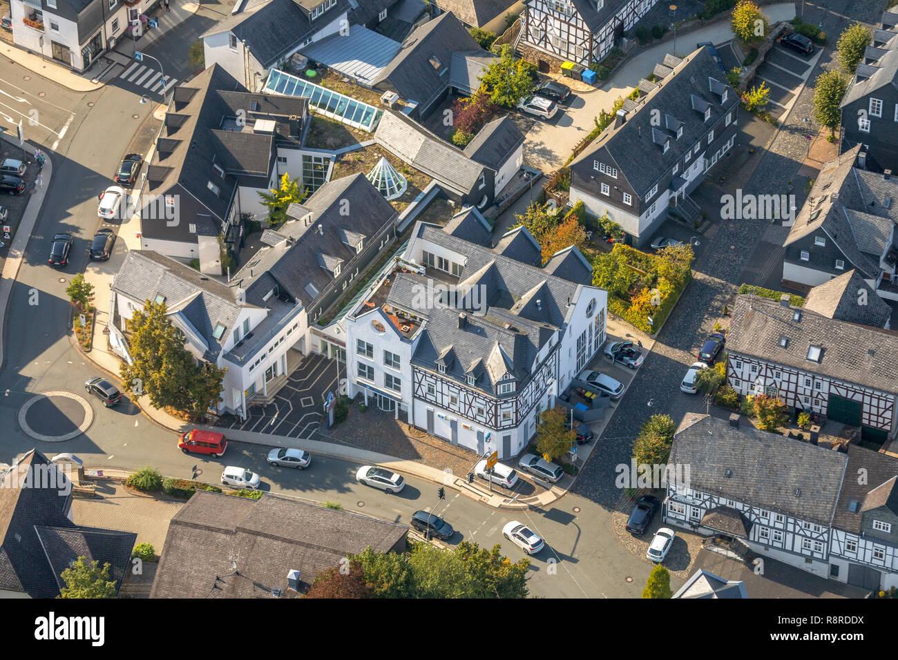Aerial view, Volksbank in Südwestfalen eG - Branch Burbach, Jobcenter Siegen-Wittgenstein - Location Burbach, Nassauische Straße, Burbach, Kreis Siege - Stock Image