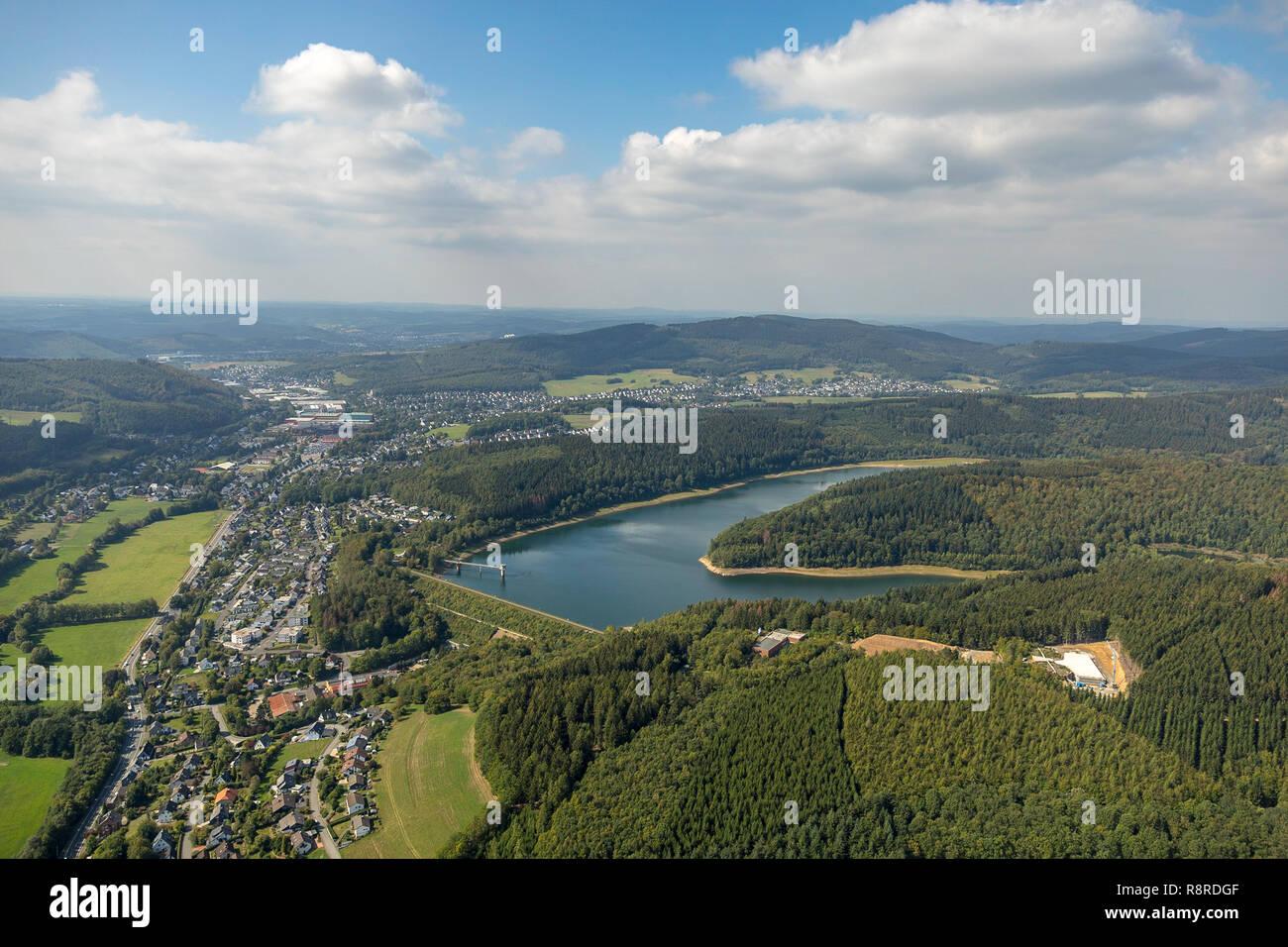 Aerial view, Breitenbach dam, dam, reservoir, clouds