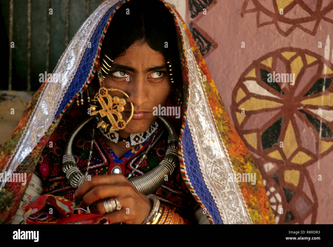 busy with Embroidery work, banmi, kachchh, gujarat, india - Stock Image