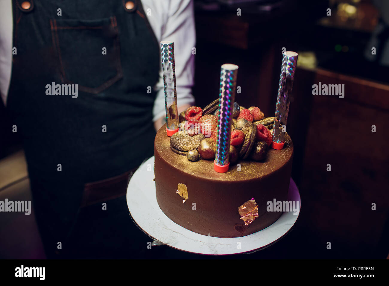 Magnificent Birthday Cake With Fireworks On Table Stock Photo 229168009 Alamy Funny Birthday Cards Online Alyptdamsfinfo