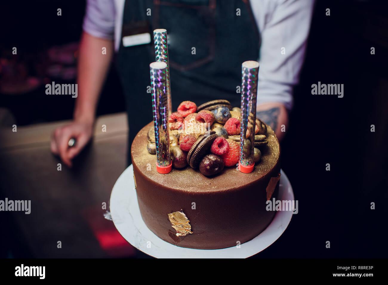 Pleasant Birthday Cake With Fireworks On Table Stock Photo 229168010 Alamy Funny Birthday Cards Online Bapapcheapnameinfo