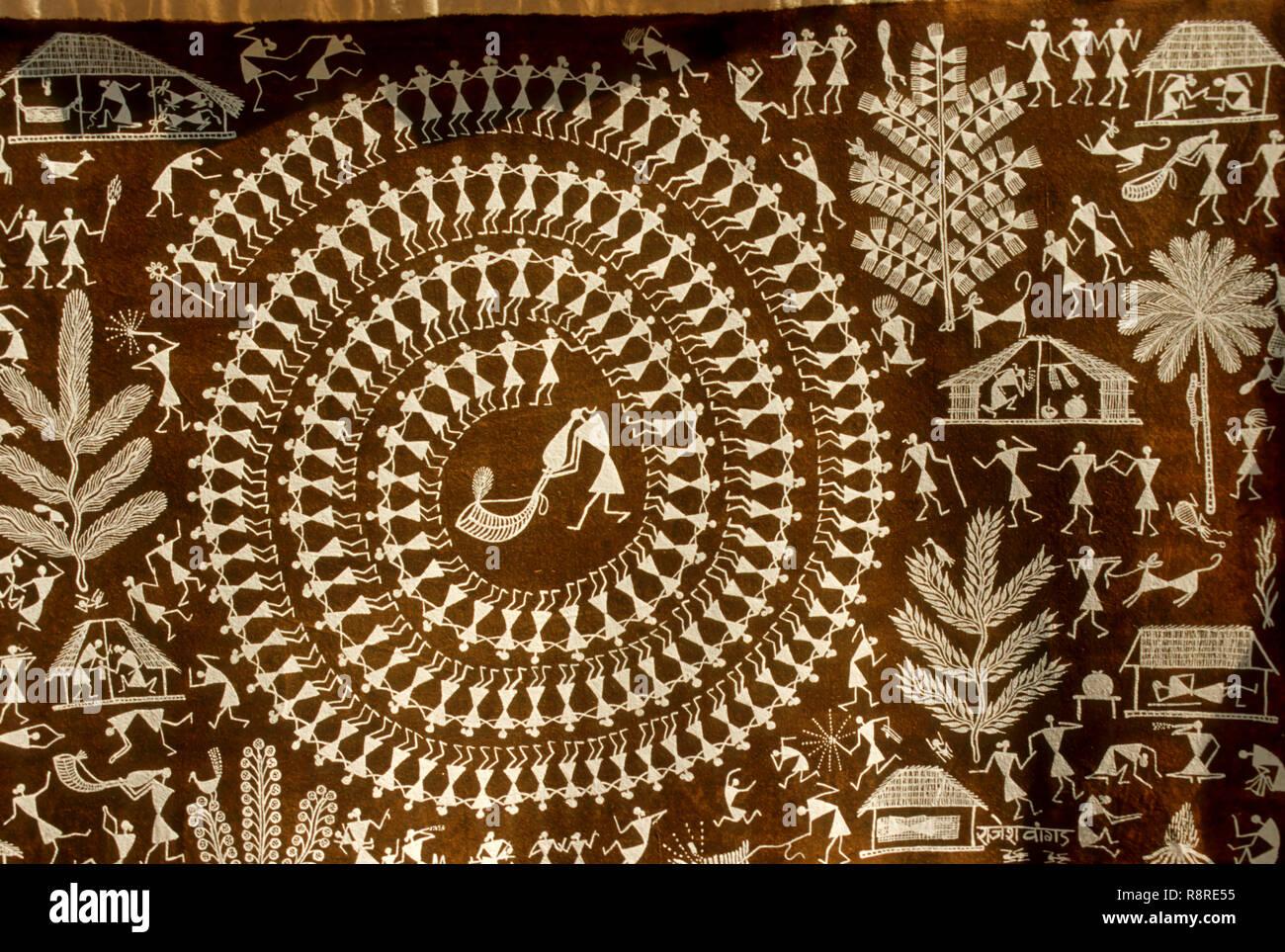 warli painting, maharashtra, india - Stock Image