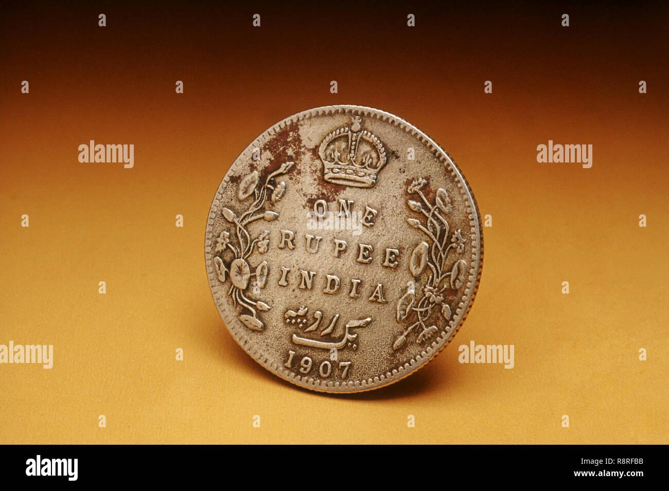 Antique Silver Coin - Stock Image
