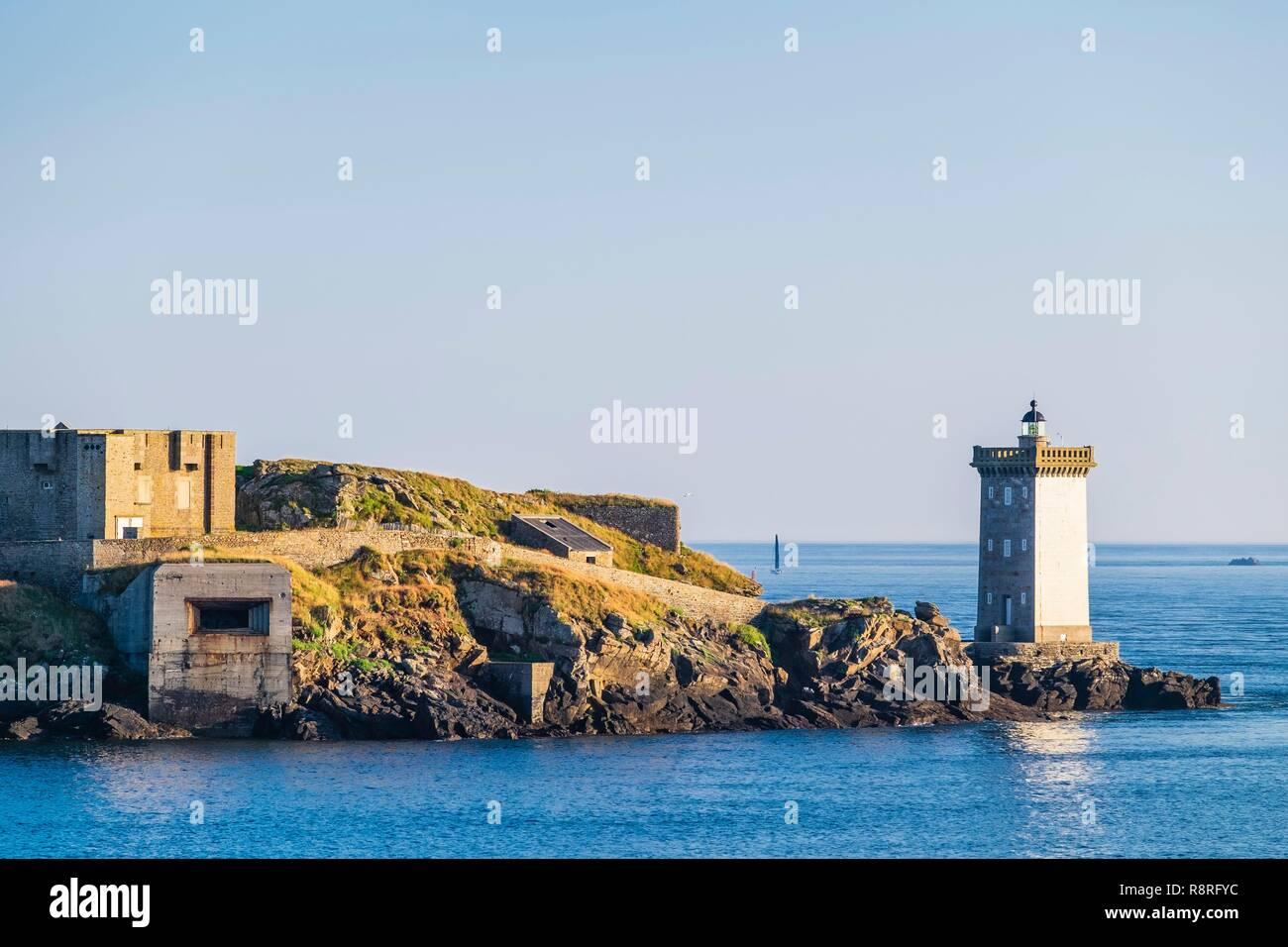 France, Finistere, Le Conquet, Kermorvan peninsula, Kermorvan lighthouse built in 1849 Stock Photo