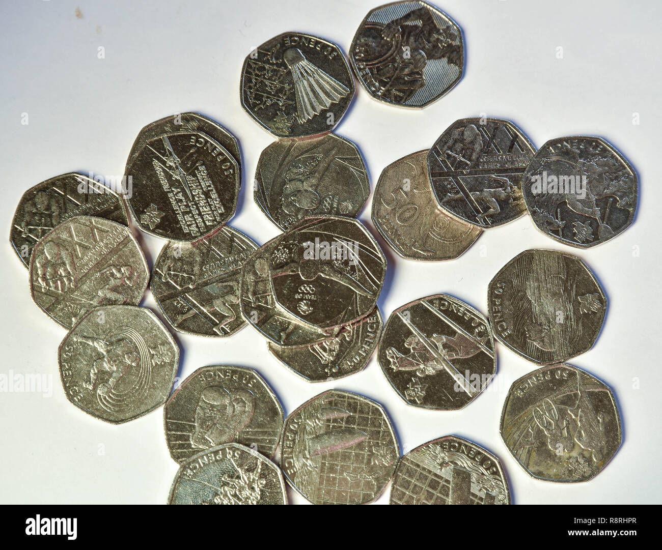uk 50p coins celebrating the olympics - Stock Image