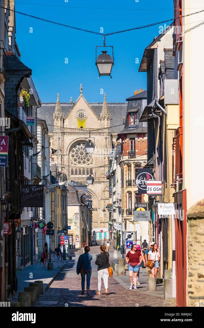 France Ille Et Vilaine Rennes Saint Melaine Street And