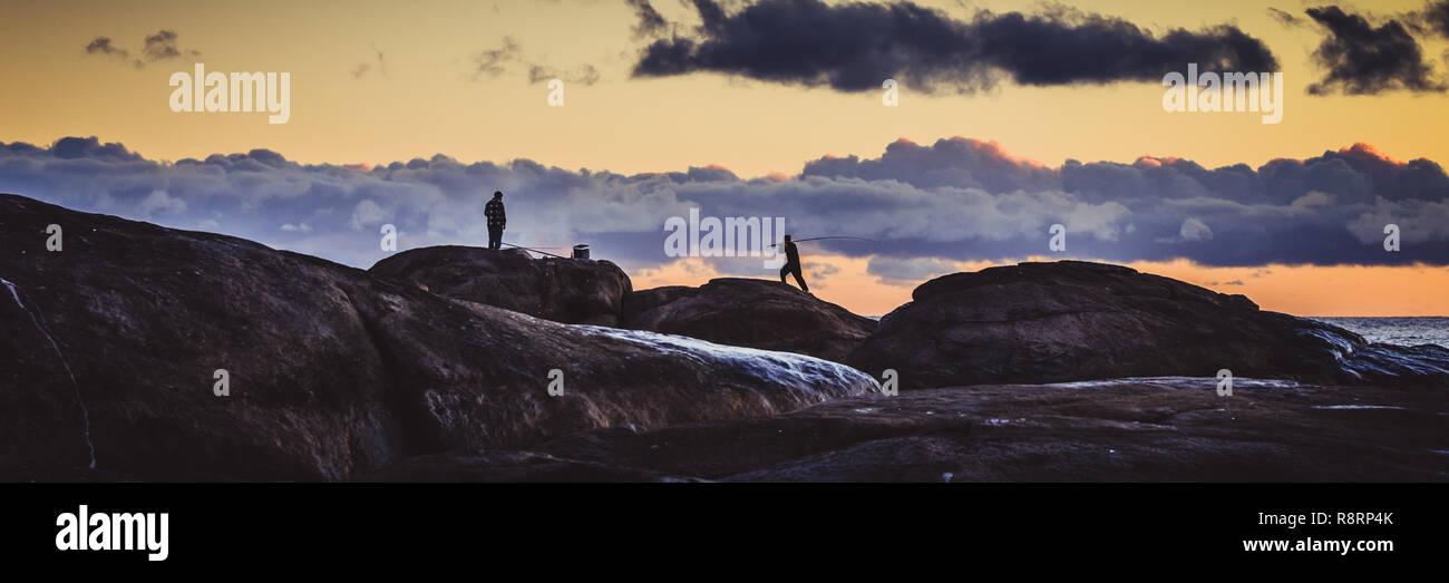 Fishermen's Silhouettes - Stock Image