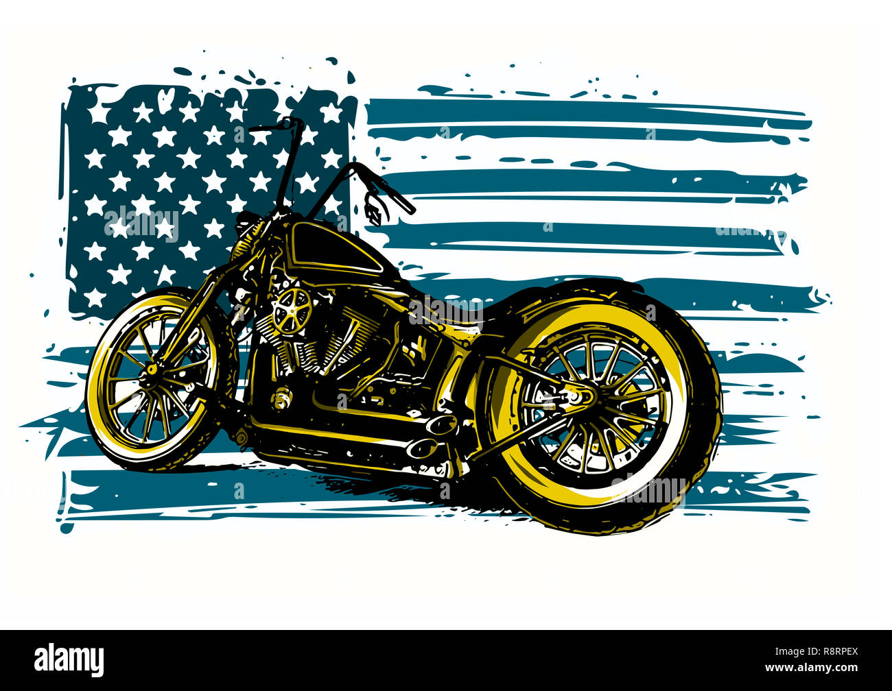 Hand drawn and inked vintage American chopper motorcycle - Stock Image