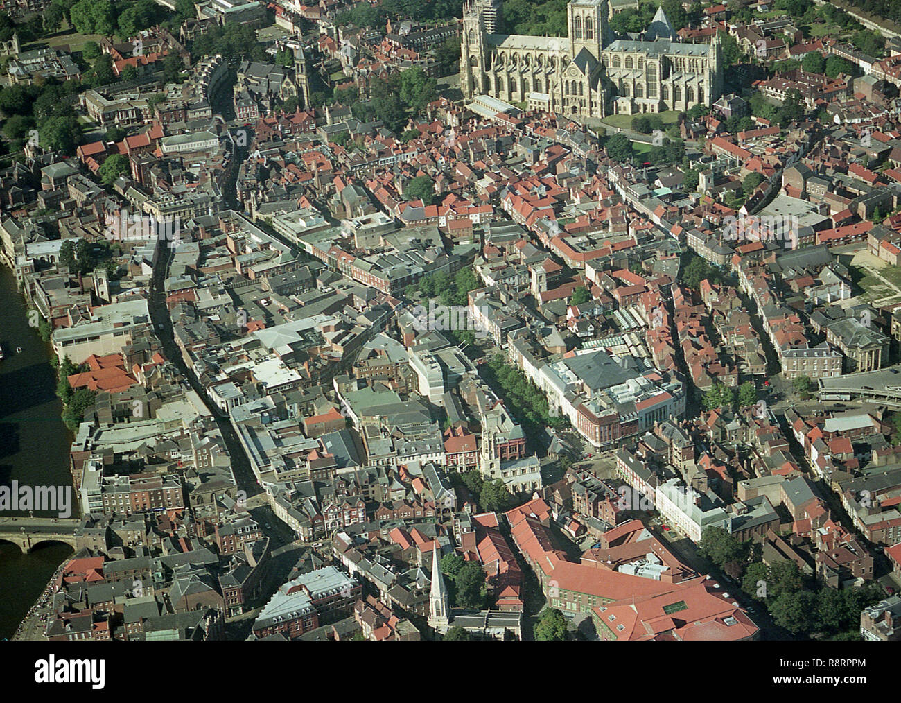 Aerial photo of City of York showing the Minster and the town centre - Stock Image