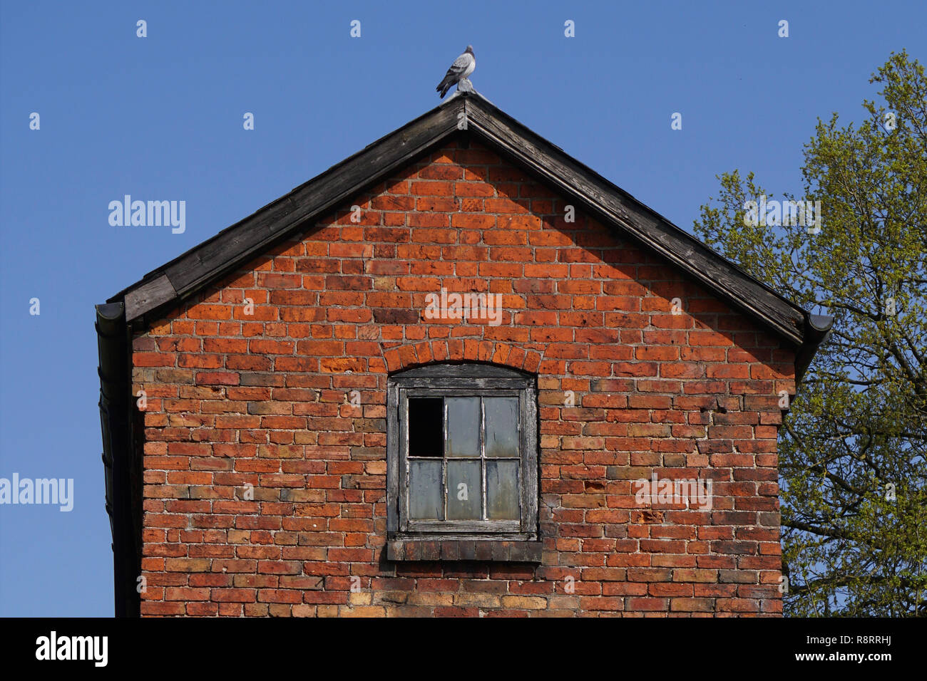 Old derelict building with broken window - Stock Image