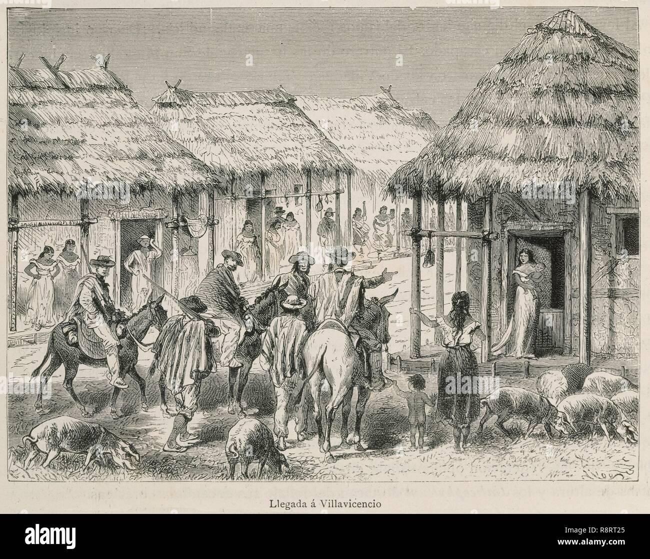 LLEGADA A VILLAVICENCIO - CAMINOS REALES DE COLOMBIA - GRABADO TOMADO DE AMERICA PINTORESCA - TOMO 3 - 1884. Author: Riou. Location: PRIVATE COLLECTION. Stock Photo