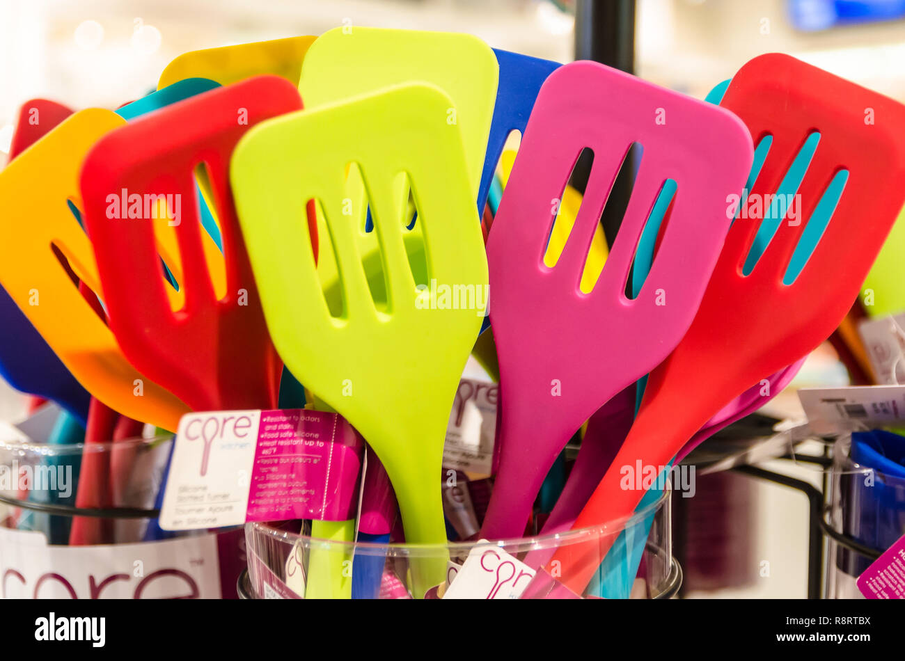Core spatulas are displayed at the Viking Range retail store in Greenwood, Mississippi. - Stock Image