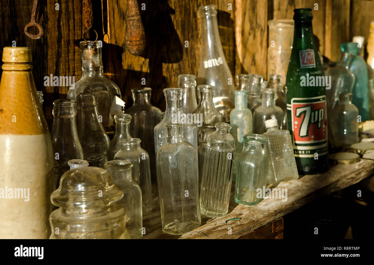 Antique bottles sit on a shelf at Booker Hardware & Cutlery Oct. 10, 2011 in Holly Springs, Miss. The store was established in 1937. (Photo by Carmen  Stock Photo